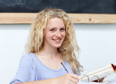 Portrait of a cute teen girl studying — Stock Photo