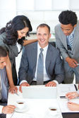 Business discussing in office a plan — Stock Photo