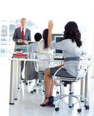 Busineswoman asking a question in a meeeting office — Stock Photo