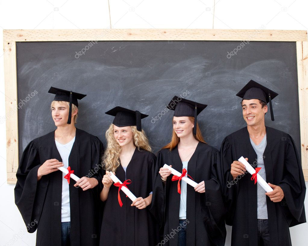 Happy group of celebrating after Graduation — Stock Photo #10278125