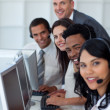 Business team and manager working in a call center — Stock Photo