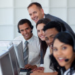 Manager with his business team working in a call center — Stock Photo