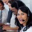 Portrait of a smiling businesswoman in a call center — Stock Photo
