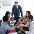 Business shaking hands in a meeting — Stock Photo