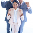 Happy business team celebrating a success with arms up — Stock Photo