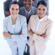 Happy international business team smiling at the camera — Stock Photo #10280545