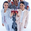 High angle of multi-ethnic business team drinking wine — Stock Photo