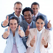 High angle of multi-ethnic business team with thumbs up — Stock Photo