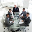 High angle of a business team smiling at the camera — Stock Photo