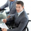Close-up of a caucasian businessman in a wheelchair — Stock Photo