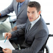 Close-up of caucasibusinessmin wheelchair — Stock Photo #10280685