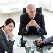 Attractive businesswoman sitting at a conference table with her — Stock Photo
