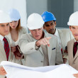 Serious architect looking at blueprints and pointing — Stock Photo #10280844