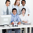 Portrait of a multi-ethnic business team with headset on — Stock Photo
