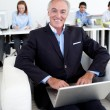 Smiling businessman using a laptop — Stockfoto
