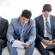 Concentrated Business sitting and waiting for job inter — Stock Photo #10281069