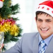 Caucasian businessman celebrating christmas — ストック写真