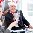 Businessman team celebrating christmas — Stock Photo