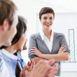 Cheerful business applauding a good presentation — Stock Photo #10281959