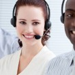 Self-assured customer service representatives standing in a line — Stock Photo #10281991