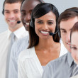 Stock Photo: Multi-ethnic customer service representatives standing in line