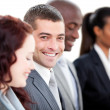 Positive multi-ethnic business in a meeting — Stockfoto