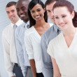 Cheerful multi-ethnic business partners standing in a line — Stock Photo #10282017