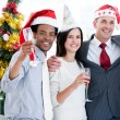 United business team drinking champagne to celebrate christmas — Stock Photo #10282302