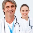 Portrait of two charming doctors — Stock Photo