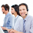 Stock Photo: Ambitious customer service agents working in call center