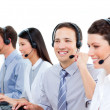 Stock Photo: Multi-ethnic customer service agents working in call center