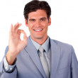 Royalty-Free Stock Photo: Successful businessman showing OK sign