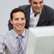 Two assertive businessmen working together — Stock Photo