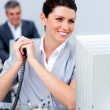 Charming business woman on phone — Stock Photo