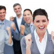 Стоковое фото: Happy business partners punching the air in celebration