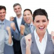 Stockfoto: Happy business partners punching the air in celebration