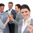 Fortunate business team toasting with Champagne — Stock Photo