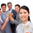 Asian businesswoman and her team celebrating a success — Stock Photo