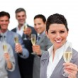 Female executive and her team celebrating a success — Stock Photo