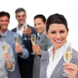 Stock Photo: Female executive and her team celebrating a success