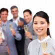 Brunette manager and her team celebrating a success — Stock Photo