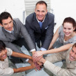 High angle of business team with hands together — Foto de Stock