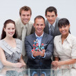 Business team holding molecules. Scientific business — Stock Photo