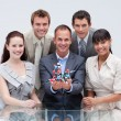 Stock Photo: Business team holding molecules. Scientific business