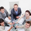 High angle of smiling business team holding molecules — Stock Photo #10285264