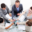 Business team examining molecules in the office — Stock Photo