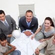 High angle of architects working with plans — Stock Photo
