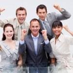 team di business sicuri essendo positivo — Foto Stock