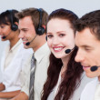 Stock Photo: Womworking with more in call center