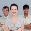 Multi-ethnic business team with folded arms — Stock Photo